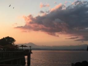 Coucher de soleil avec le Fuji en fond